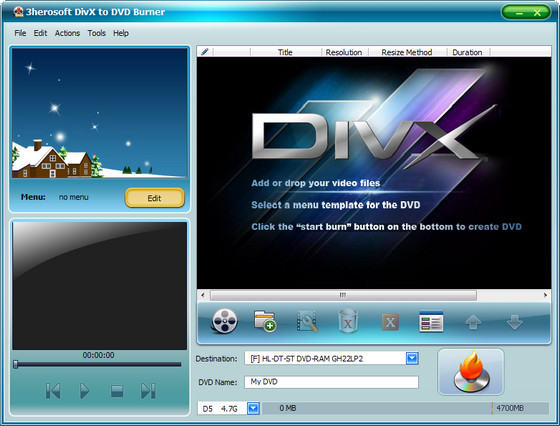 3herosoft DivX to DVD Burner v3.8.2 Build 0517
