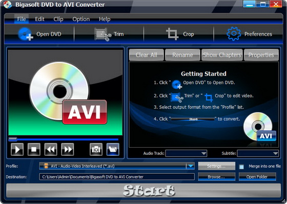 Bigasoft DVD to AVI Converter v1.7.5.4021