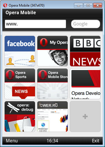 Opera Mobile Emulator v11.00 Build 14316