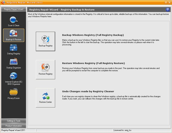 Registry Repair Wizard v2011 6.40