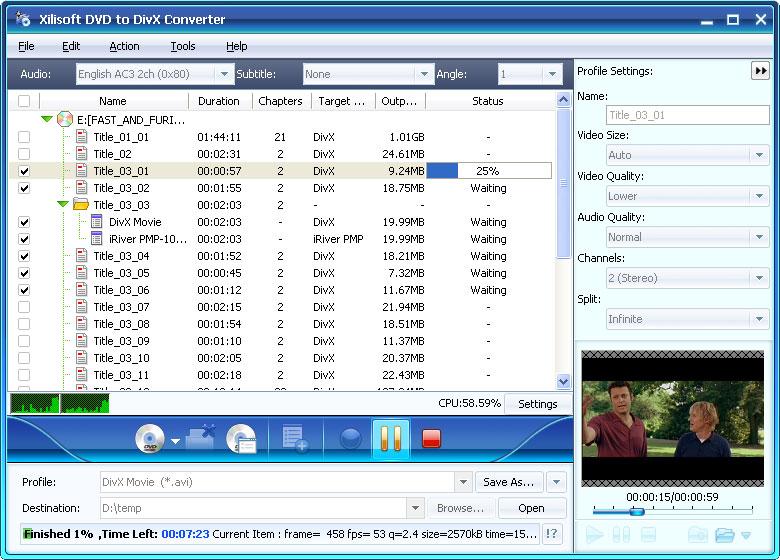 Xilisoft DVD to DivX Converter v5.0.62.0416